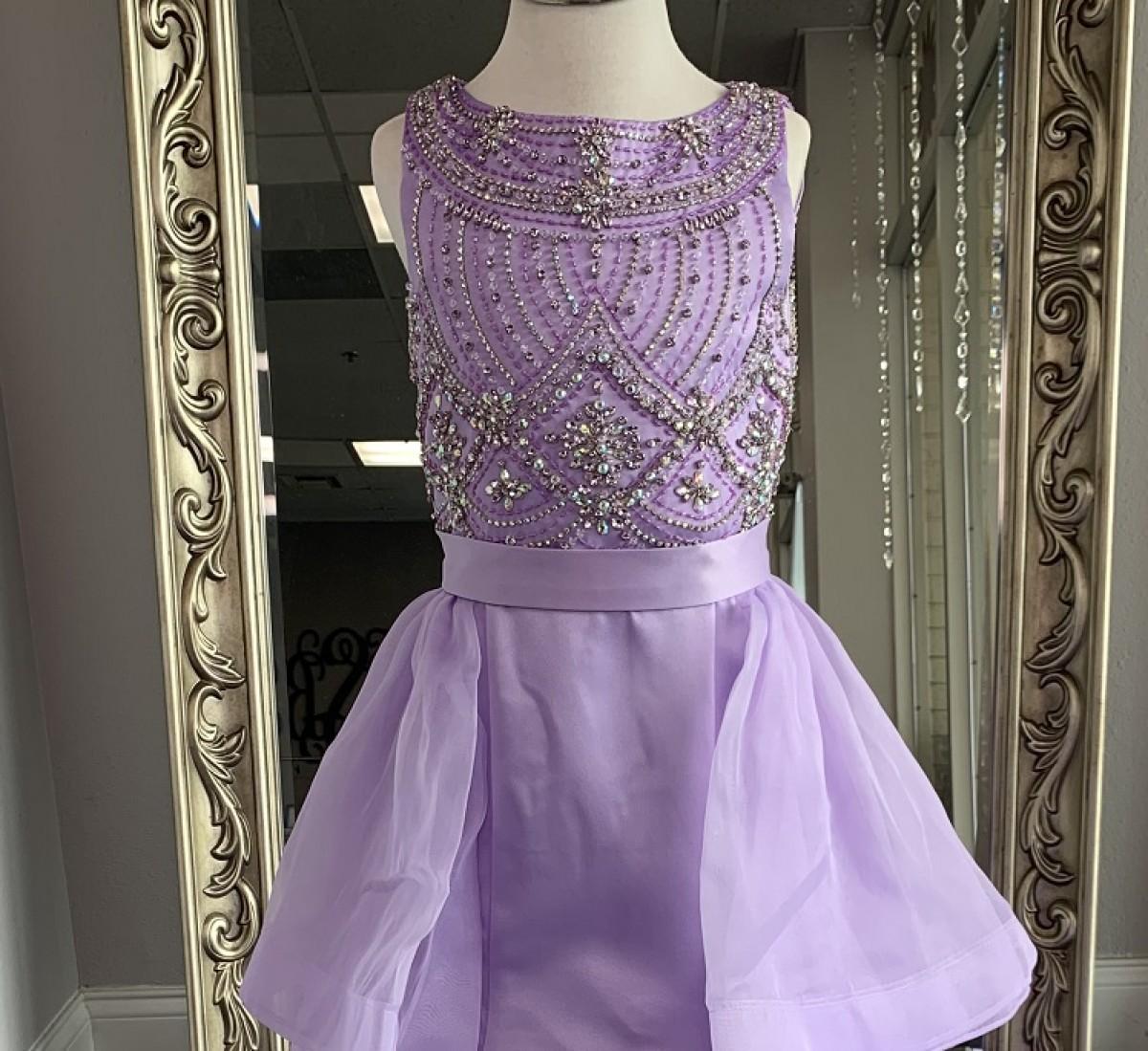 ASHLEY Lauren Kids Dress 8022 Girls Pageant Lilac Size 10 W/ Detachable Train