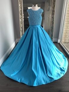 ASHLEY Lauren Kids Dress 8017 Girls Pageant Turquoise Size 12 - Tween