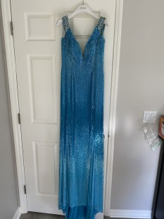 Turquoise liquid beading Jovani couture gown