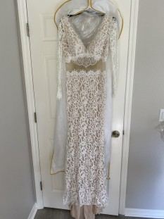 Ivory lace gown by Angela and Alison