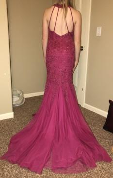 Raspberry Sherri Hill Mermaid Gown