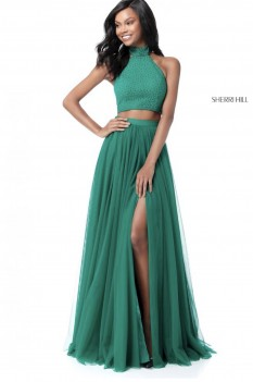 Emerald green Sherri Hill two piece
