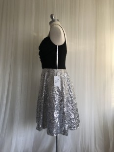 Black and Silver Pleated Corset Dress