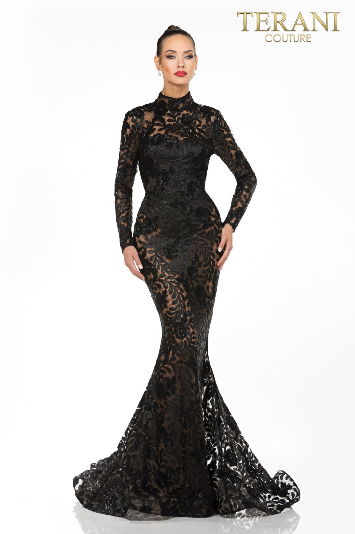 Terani Couture lace Evening gown w/ Bodysuit