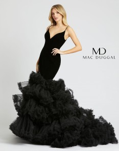 Mac Duggal Black Velvet Mermaid