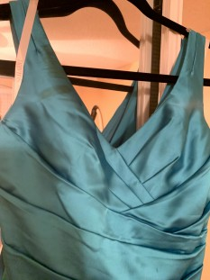 Teal blue David's bridal dress