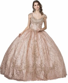 SWEETHEART GLITTER EMBELLISHED BALL GOWN