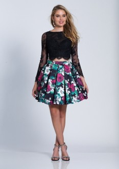Dave and Johnny 2pc lace and floral short dress style - A6358
