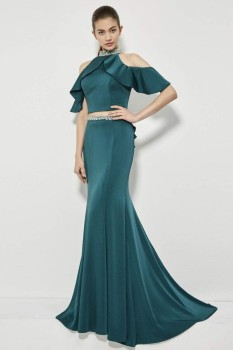 Angela & Alison Green 2pc Mermaid Cold Shoulder with Ruffle Pop Over style - 81033