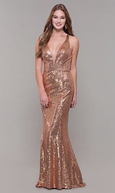 Dave & Johnny Rose Gold Sequined Fitted Gown style - A7832