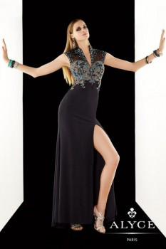 Alyce Paris Black/Turquoise Sheer Beaded Bodice style - 2370