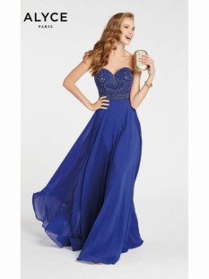 Alyce Paris Cobalt Beaded Bodice with Flowing Chiffon Skirt style - 60352