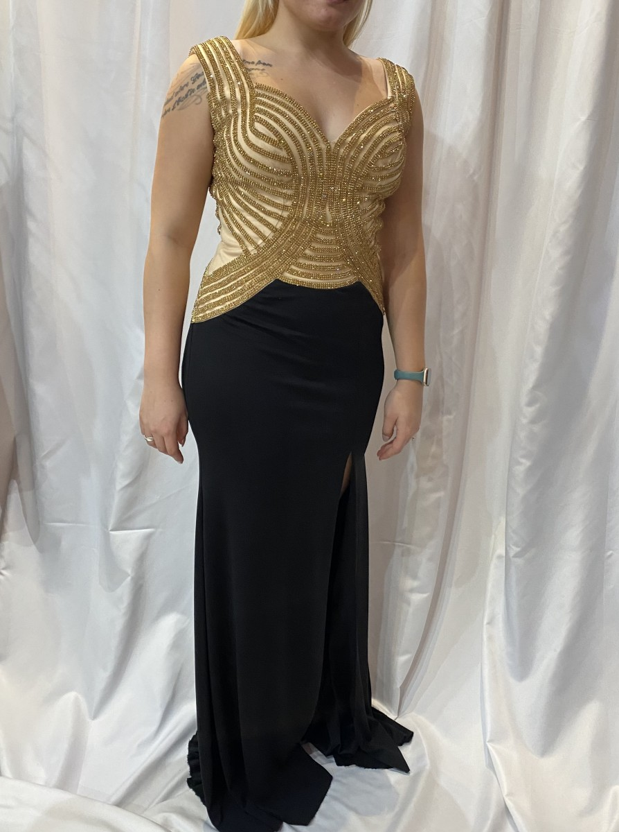 Black Label Black/Gold Beaded Bodice with Stretch Skirt with Slit style - 2238