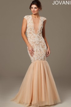Jovani Nude Plunging Mermaid with Tulle and Pearl Bodice style - 20092A