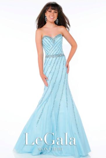 Mon Cheri Light Blue Strapless Beaded Mermaid style - 116565