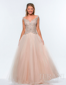 Terani Couture Nude Beaded Tulle Ballgown style - 151P0185A