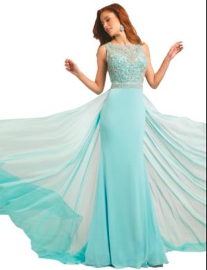 Jovani Tiffany Blue Beaded Bodice with Chiffon Overlay style - 21029A