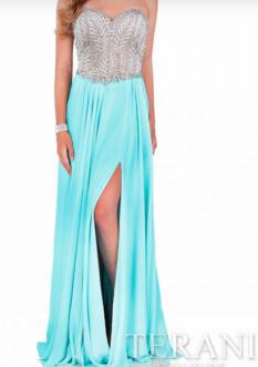 Terani Couture Aqua Beaded Bodice with Chiffon Skirt style - 1611P0207A