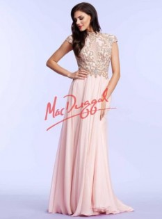 Mac Duggal Blush High Neck Beaded Bodice with Chiffon Skirt style - 10037