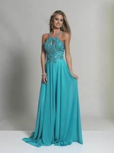 Dave & Johnny Turquoise Crepe Chiffon with Keyhole Beaded Top style - 2143