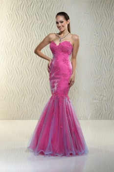 Xcite Cerise Sweetheart Strapless Mermaid with Lace Applique and Tulle style 30517