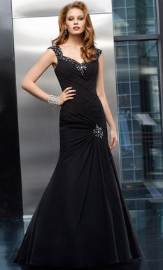 VM Collection Black Ruched Chiffon with Beaded Detailing style - 70601