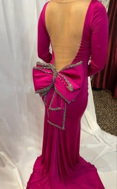 Tarik Ediz Magenta Stretch Jersey with Sheer Back and Bow Detail style - 92563