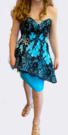 Terani Couture Light Blue Short Sweetheart Strapless Asymmetrical Lace Overlay with Straight Skirt style - P3031