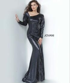 Jovani Black Tiled Long Sleeve with Asymmetrical Neckline style - 1712A
