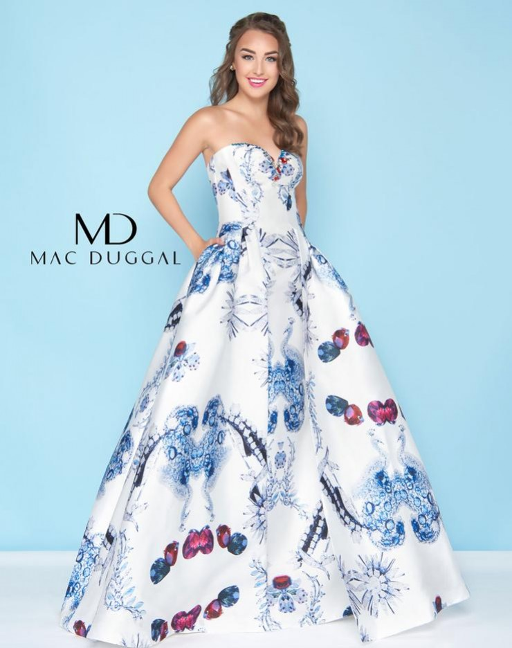 Mac Duggal White/Multi Colored Sweetheart Strapless Ballgown with Designer Inspired Peacock Print style - 30374