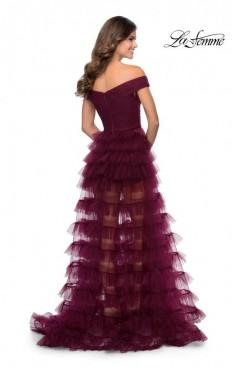 La Femme Dark Berry Sheered Tulle Skirt Ball Gown