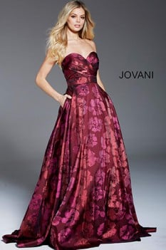 Jovani Wine Strapless Ball Gown with Tonal Floral Print