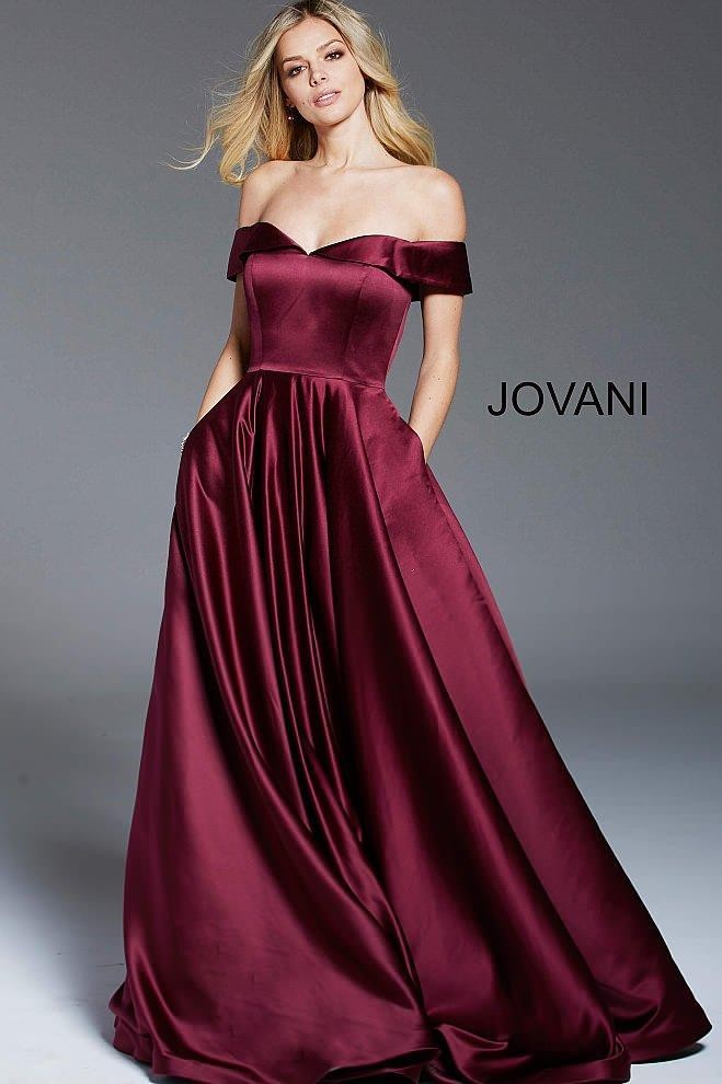 Jovani Wine Off The Shoulder A Line Gown
