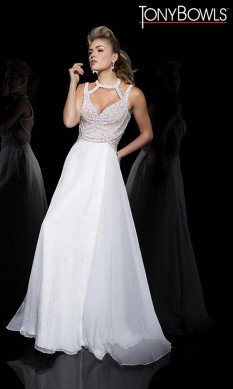 Tony Bowls Ivory Pearl and Crystal Gown
