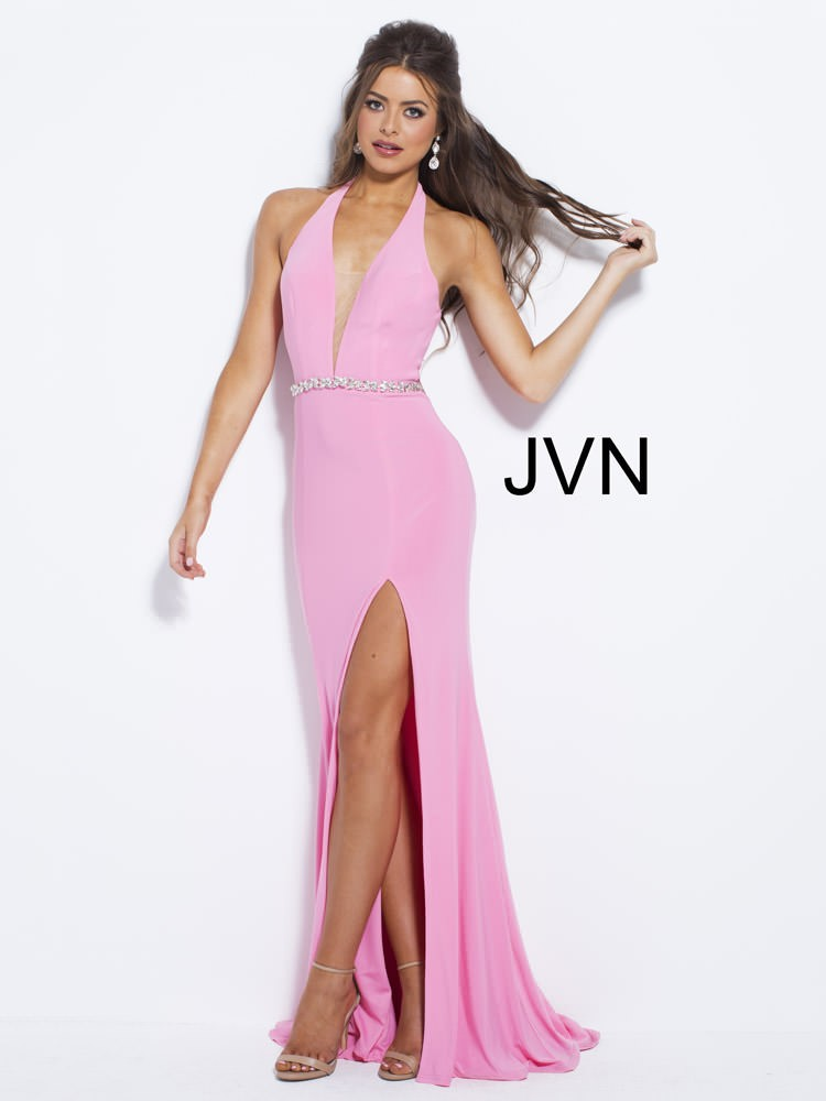 JVN Pink Halter with Beaded Belt and High Side Slit