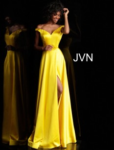 JVN Yellow Off The Shoulder Satin Gown