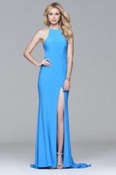 Faviana Sea Blue Halter Jersey Gown