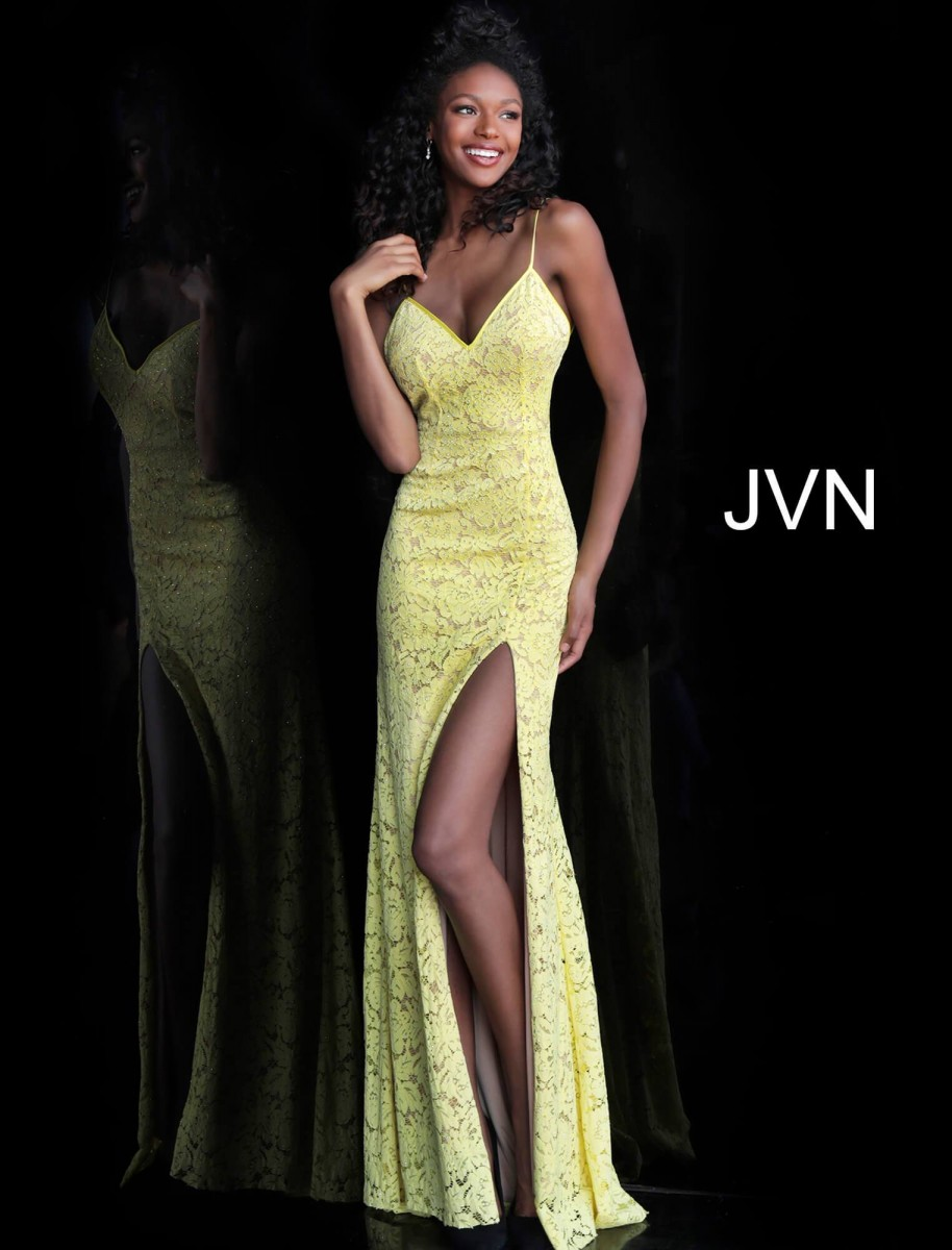 Jovani Yellow and Nude Lace Gown