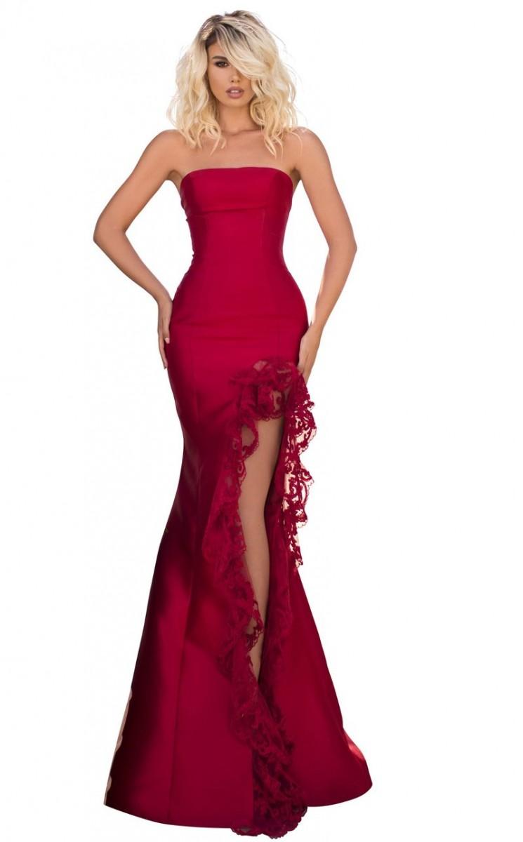 Tarik Ediz Red Mermaid with Lace Trimmed Slit