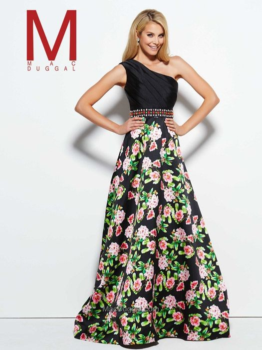 Mac Duggal One Shoulder Black and Multi Colored Floral Ballgown