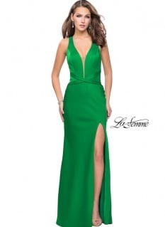 LaFemme Emerald Vneck Sheath