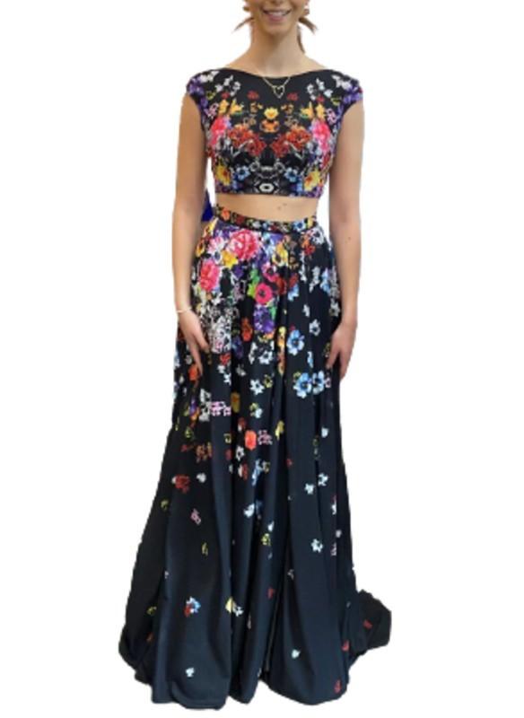 Jovani 2pc Black Floral gown