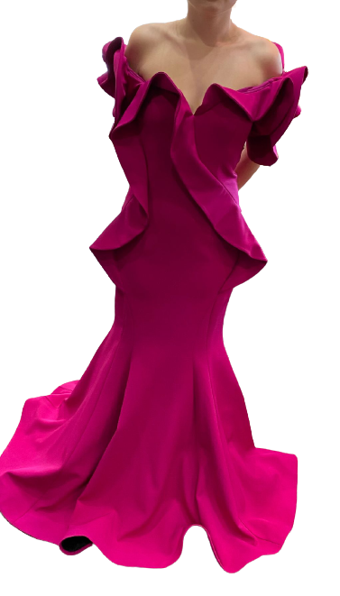 La Pateau Fuschia OTS Fitted Gown