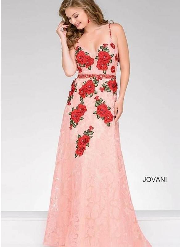 Jovani Lace With Floral Applique