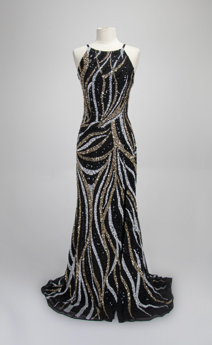 Paul Rekhi Black/Gold High Neck Beaded Gown