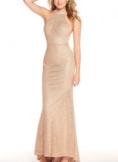 Alyce Paris High Neck Beaded Fitted Gown