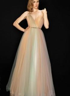 Terani Couture Multi Colored Glitter Tulled Ballgown