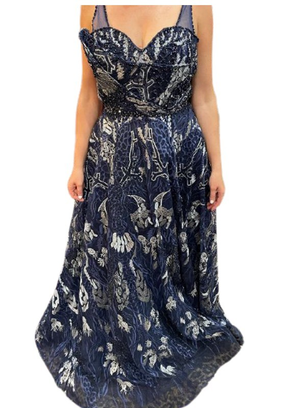 Mambo Couture Navy Beaded And Lace Applique Ballgown