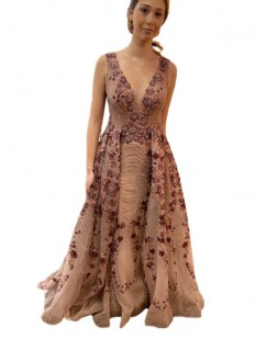Mambo Couture Mauve Vneck Sheath With Floral Applique And Skirt Overlay