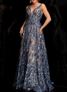 Lucci Lu Blue Vneck Ballgown With Embroidery